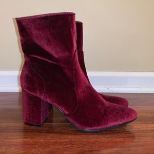 ShoeDazzle Red Velvet Heeled Boots